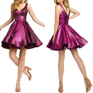 Mac Duggal Metallic Pink Fit & Flare Dress 4 NWT